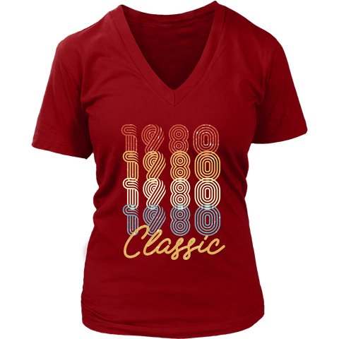 Women's 38th Birthday Gift Vintage 1980 Retro Classic V-Neck T-Shirt