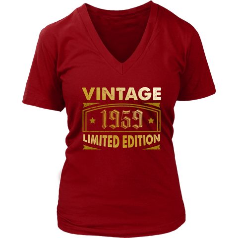 Women's Vintage 1959 59 Year Old Birthday Gift V-Neck T-Shirt