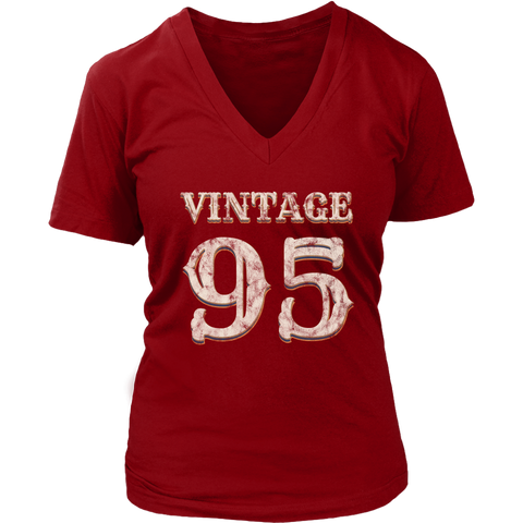 Women's Vintage 95 V-Neck Tshirt 23rd Birthday Gift for 23 Year Old