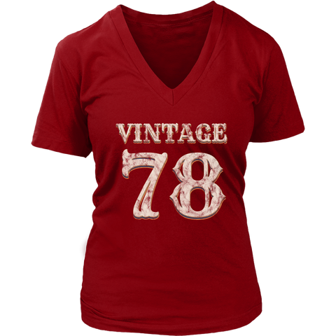 Women's Vintage 78 V-Neck Tshirt 40th Birthday Gift for 40 Year Old