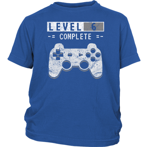 Kid's Level 6 Complete T-Shirt 6th Video Gamer Birthday Gift