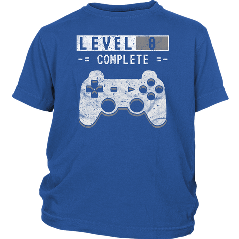 Kid's Level 8 Complete T-Shirt 8th Video Gamer Birthday Gift