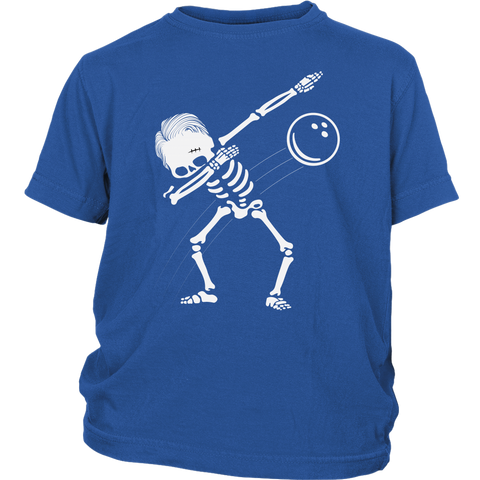 Kids Dabbing Skeleton Bowling Ball T-Shirt