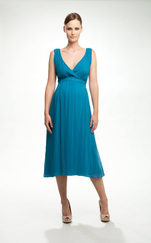 Crave - Teal Grecian Maternity Evening Dress