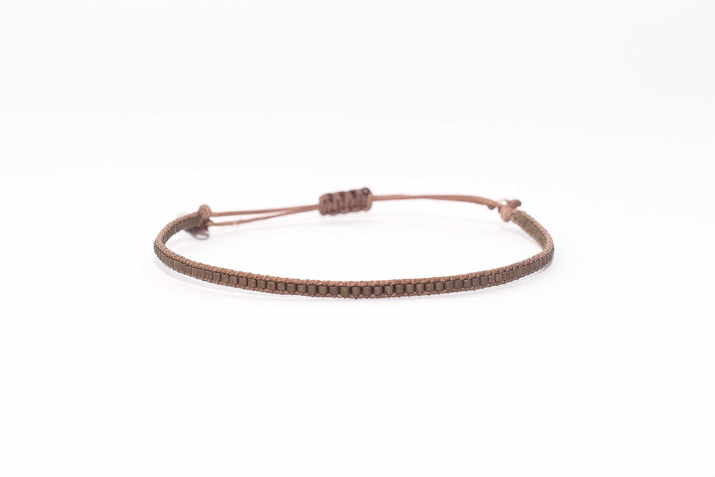 Pulsera Mostacillas Simple Café Opaca