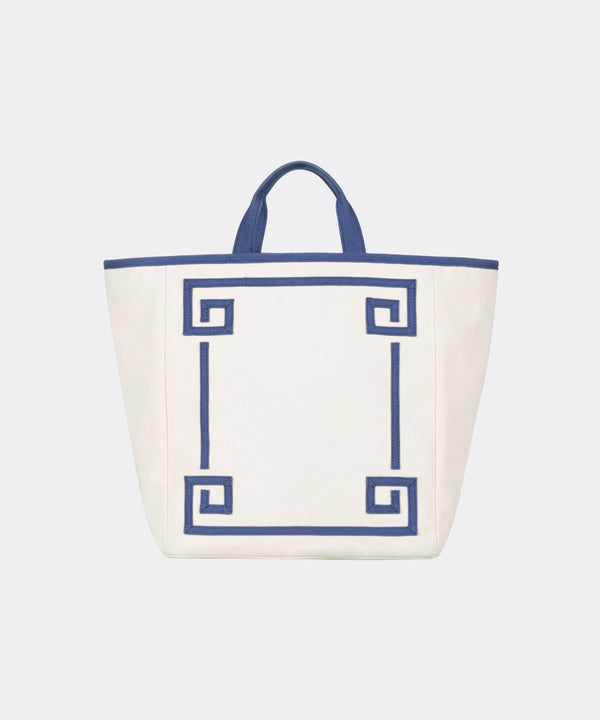 Greek Key Canvas Tote