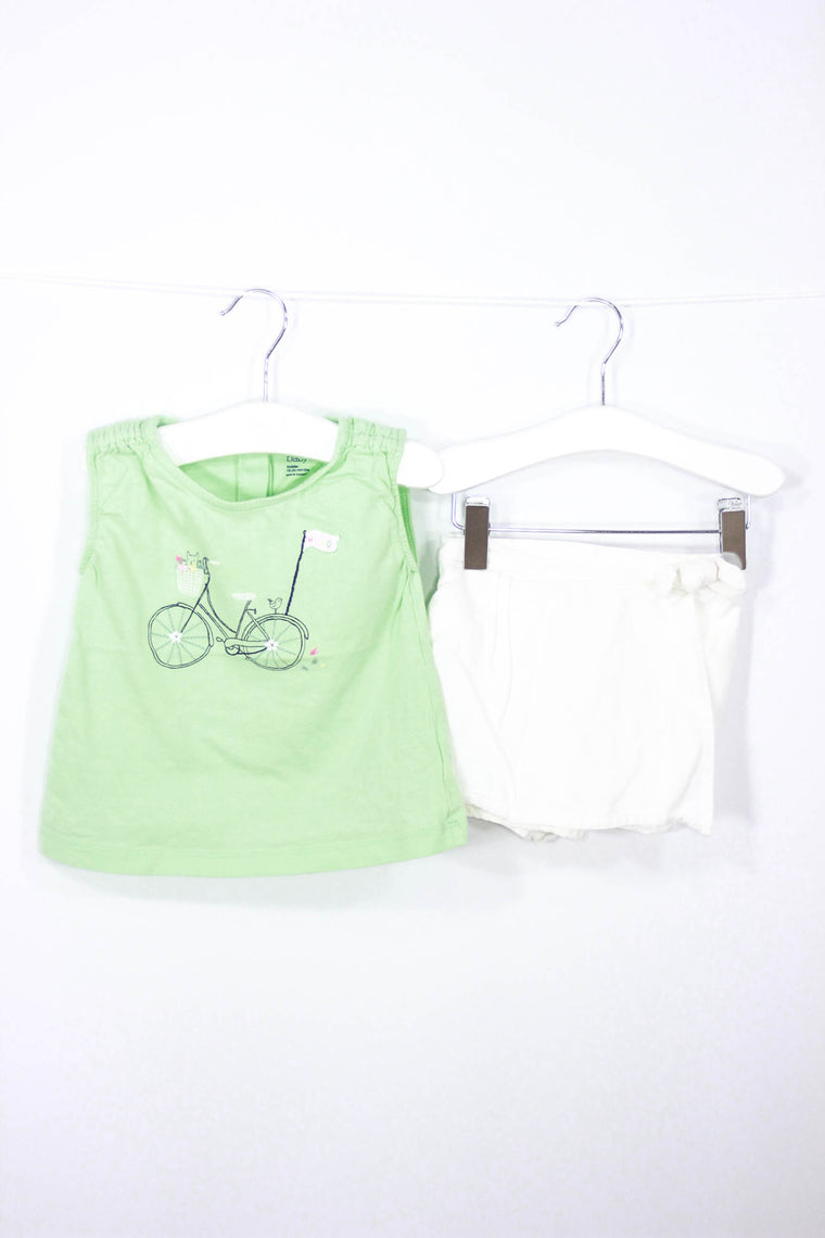 Baby Gap Size 12-18M Bike Tee and Skort