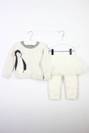 Baby Gap Size 12-18M Sweater and Tutu Legging Outfit