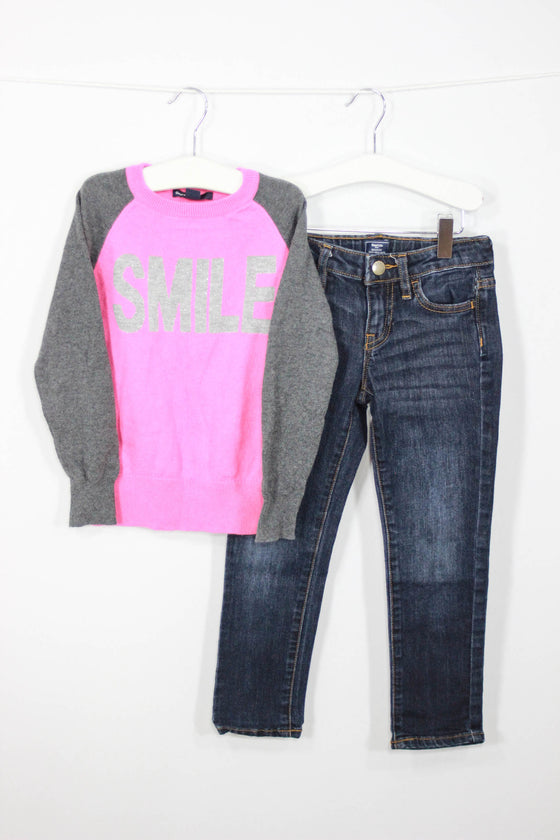 Baby Gap Size 4/5 Skinny Fit Denim and Smile Sweater