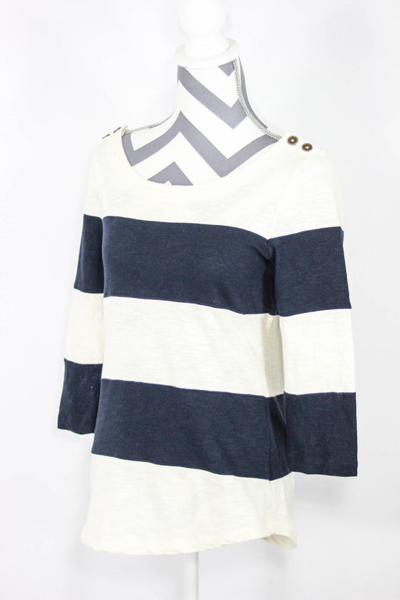 Banana Republic Size Small Stripe 3/4 Sleeve Top