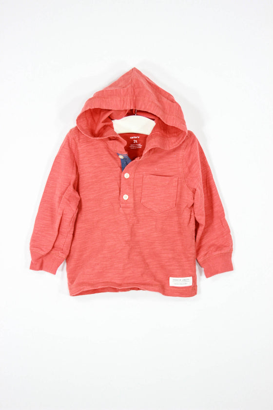 Carter's Size 2T Hooded Long Sleeve Henley