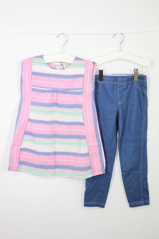 Carter's Size 5 Stripe Top and Jeggings