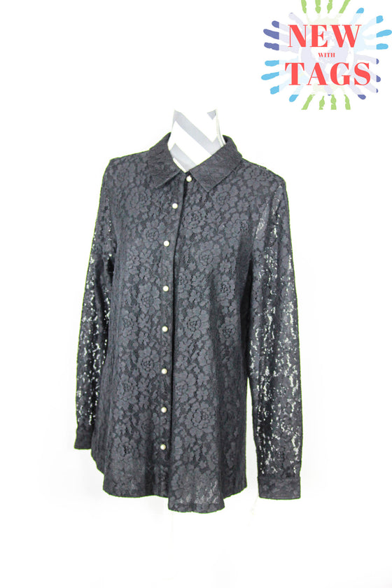 Charter Club Size XL Vintage Laceover Long Sleeve Blouse