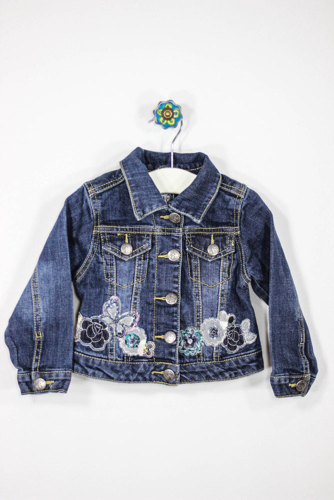 Children's Place Size 24M Flower Denim Jacket