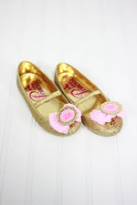 Disney Size Shoes 9/10 Princess Gold Sparkle Flats