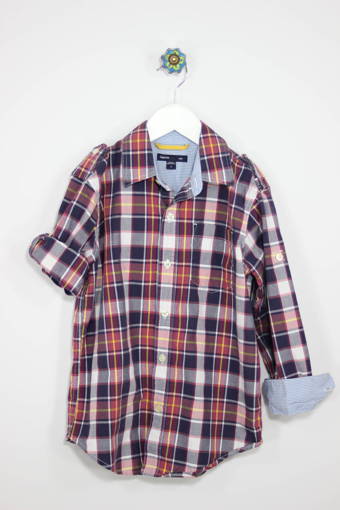 GAP Kids Size 6/7 Convertible Plaid Shirt