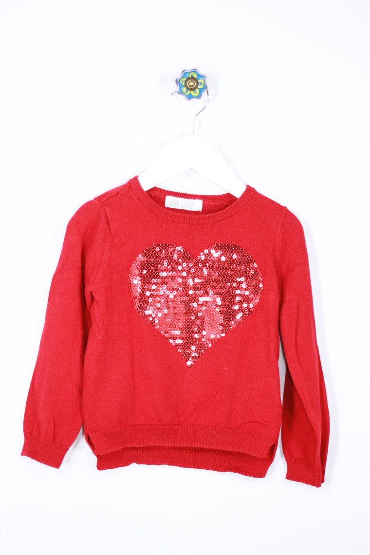 H&M Size 2-4Y Glitter Heart Sweater