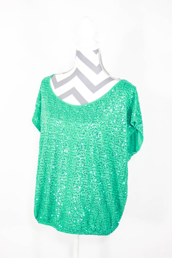 INC Size XL Sequin Short Sleeve Top