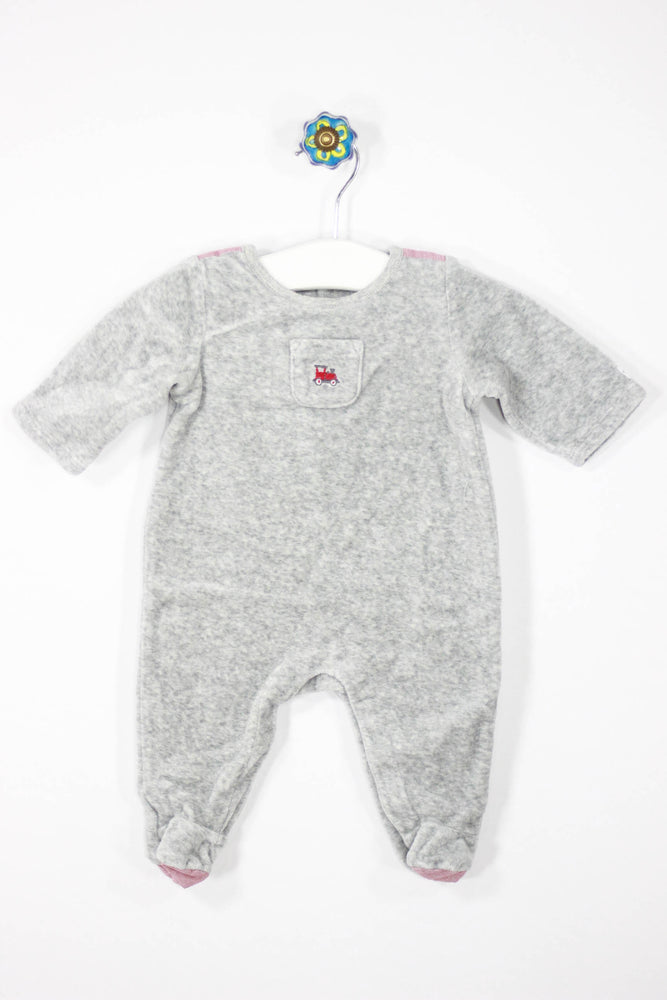 Janie and Jack Size 0-3M Soft Train Footed Pajamas