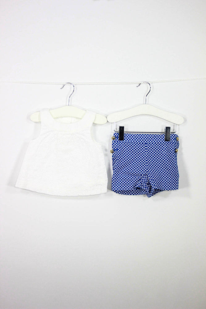 Janie and Jack Size 6-12M Eyelet Top and Shorts