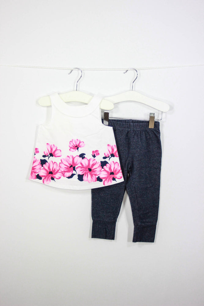 Janie and Jack Size 6-12M Flower Top and Jeggings