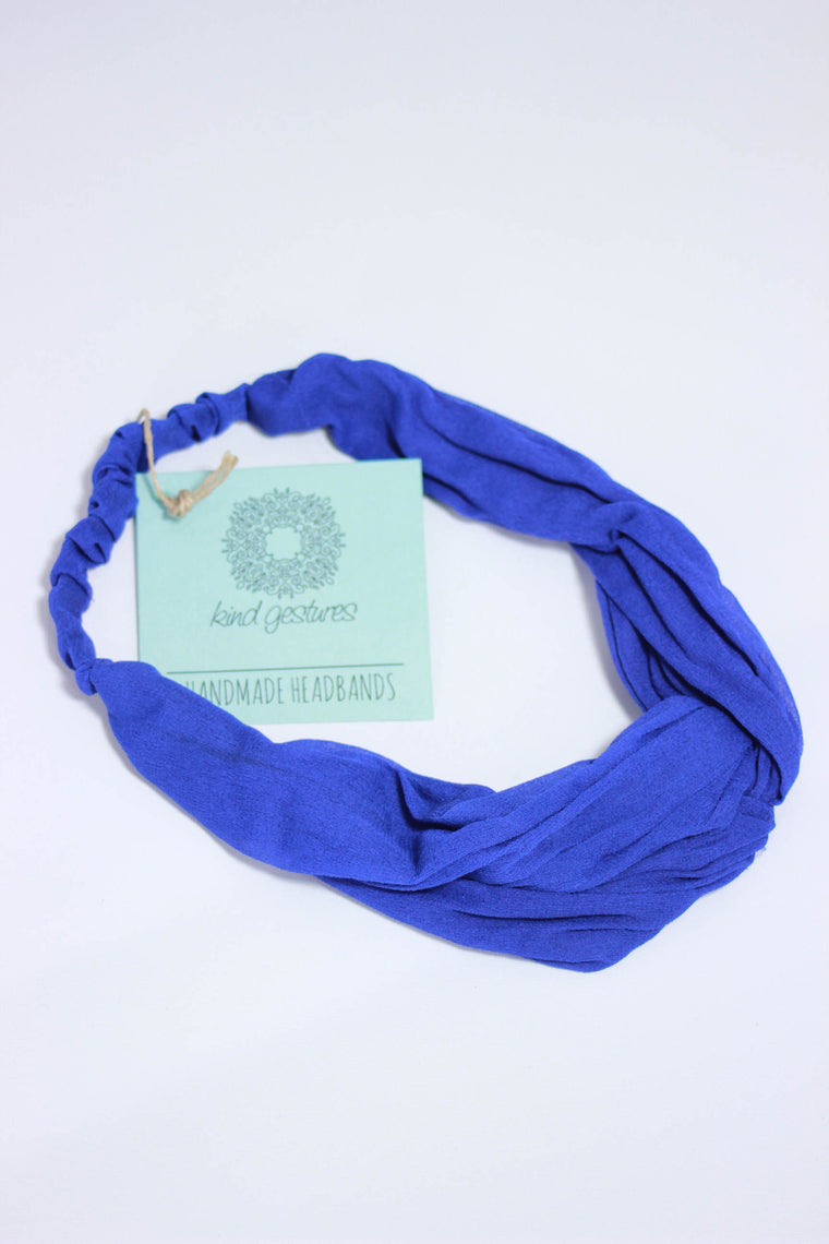 Kind Gestures Blue Lightweight Sheer Handmade Headband