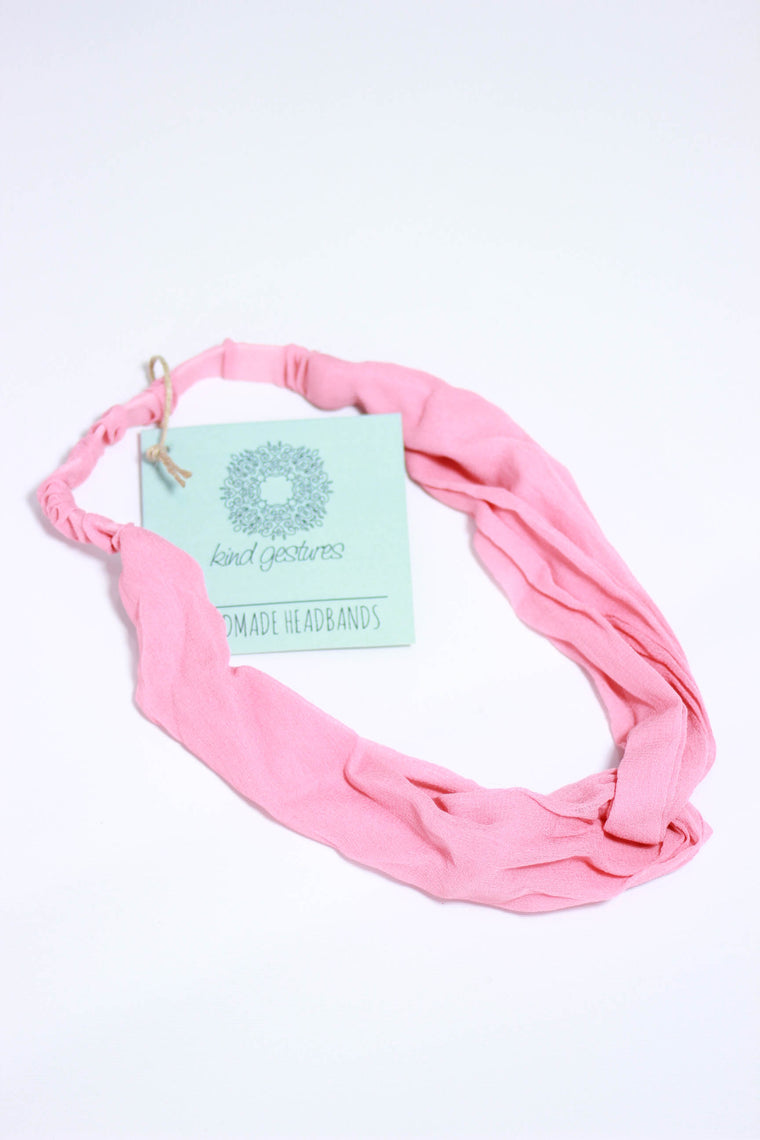 Kind Gestures Pink Lightweight Sheer Handmade Headbands