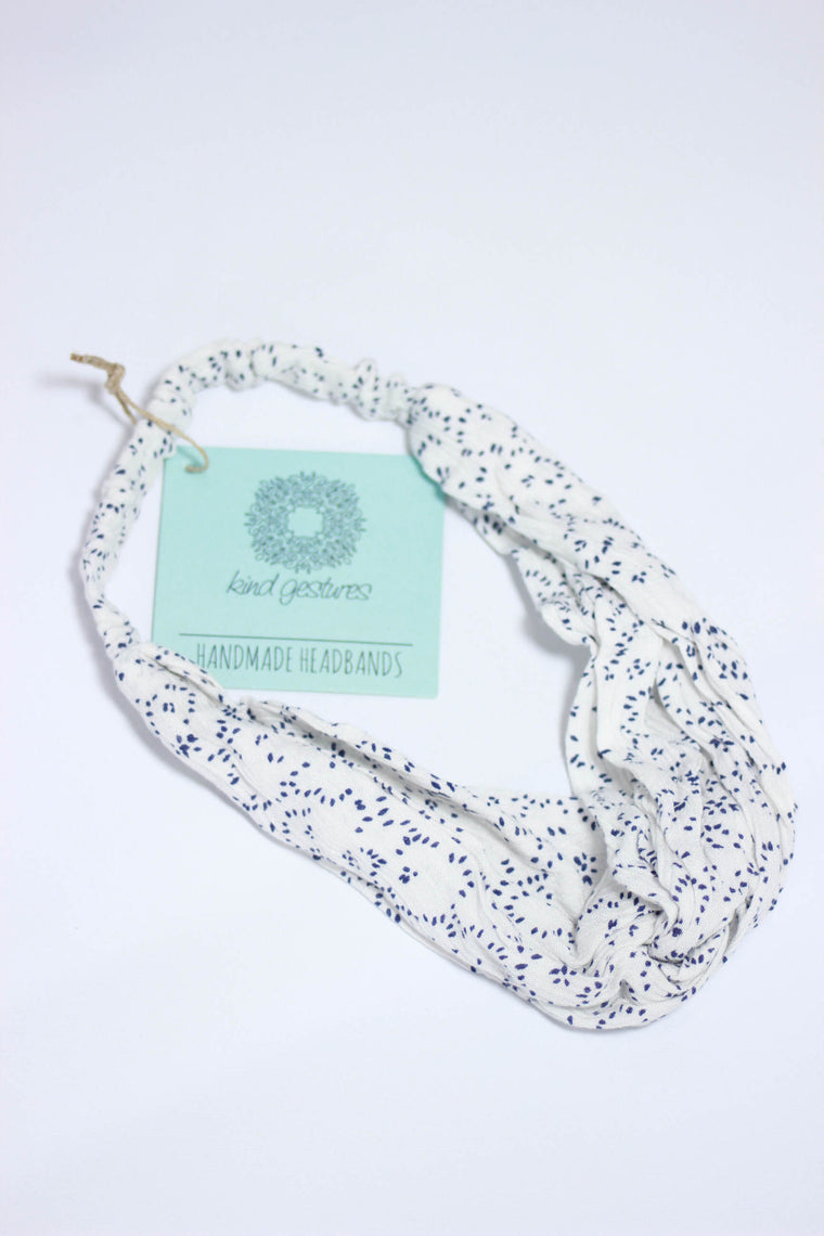 Kind Gestures White/Navy Handmade Headband