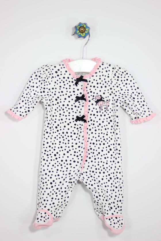 Little Me Size NB Poodle Footed Pajamas