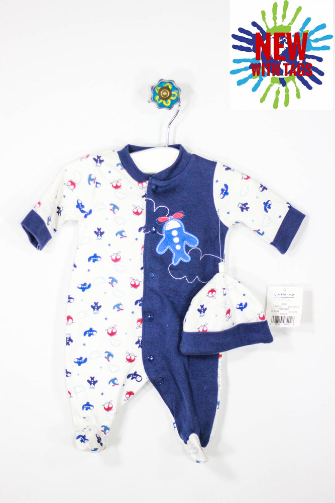Little Me Size Preemie Footed Pajamas and Hat