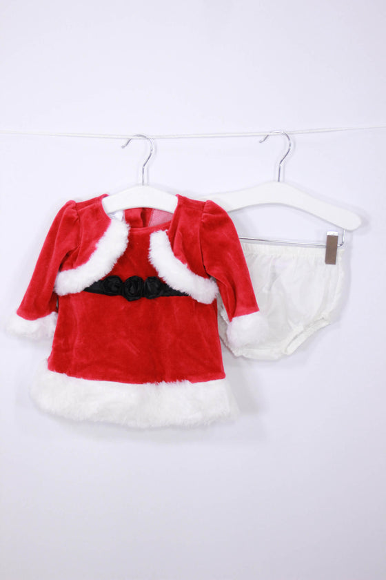 Little Wonders Size 0-3M Christmas Dress + Bloomers