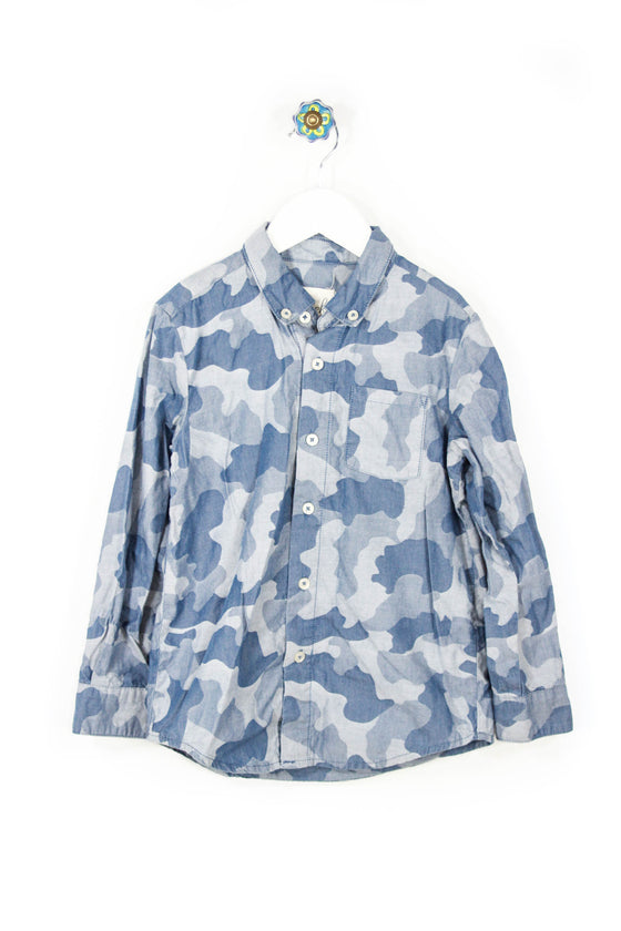 Peek Size 8 Blue Camo Button Down Shirt