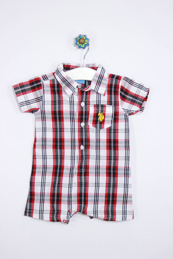 US Polo ASSN Size 6-9M Plaid One Piece