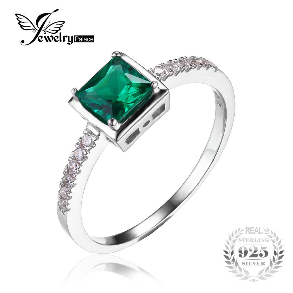 emerald rings round color jewelry bling ring crown cz silver green engagement set r