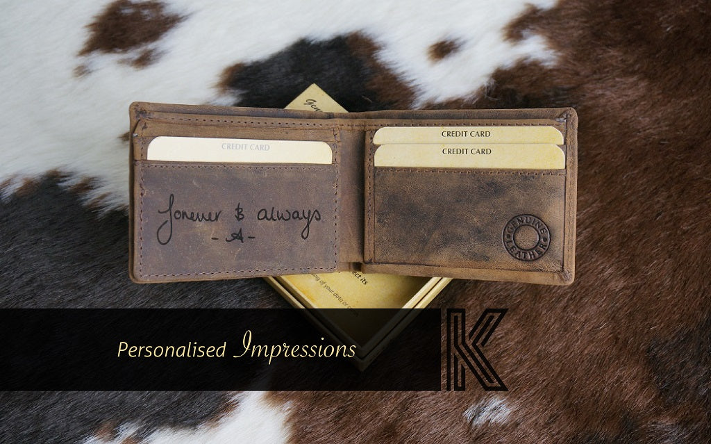 Personalised engraved Kalghi leather wallet. Handcrafted from veg tanned genuine leather