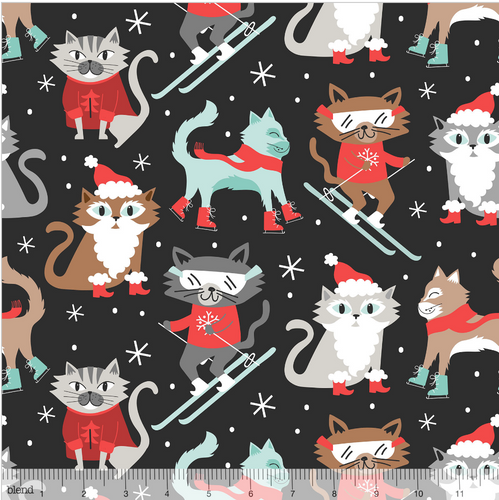 Kitty Patrol grey from the Snowlandia Collection designed by Maude Asbury for Blend Fabrics, Pet, Dogs, Christmas