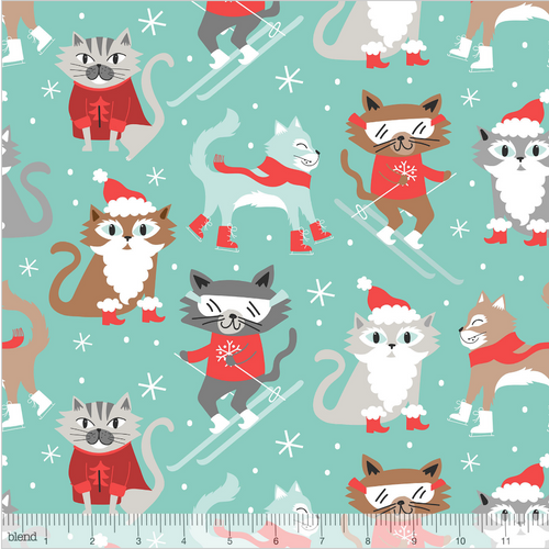 Kitty Patrol Blue from the Snowlandia Collection designed by Maude Asbury for Blend Fabrics, Pet, Dogs, Christmas