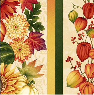Border Stripe, Autumn Album, Cream, Fall Fabric, Pumpkins, Sunflowers, Chinese Lanterns