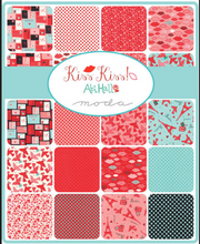 "Kiss Kiss! 5"" charm pack by Abi Hall for Moda, Valentine, Love, Paris, France, 5"" squares, 42 pieces"