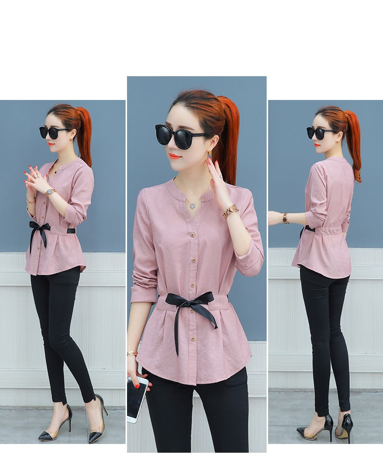 Waist-Tie Button Shirt-Korean style