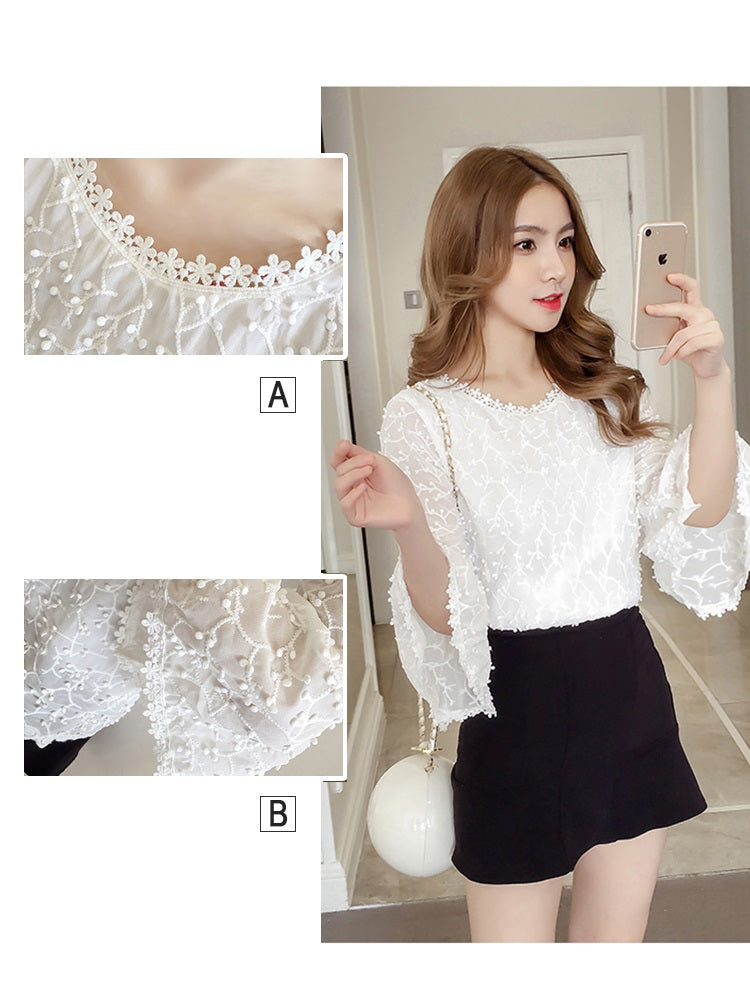 Chiffon Lace loose top-Korean fashion