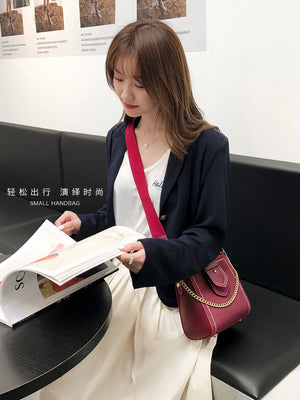 A32M  Bucket Shape Zipper Pocket Women's Bag