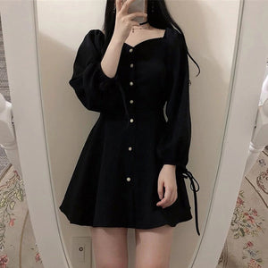 A17Q  Square Collar Black French Dress