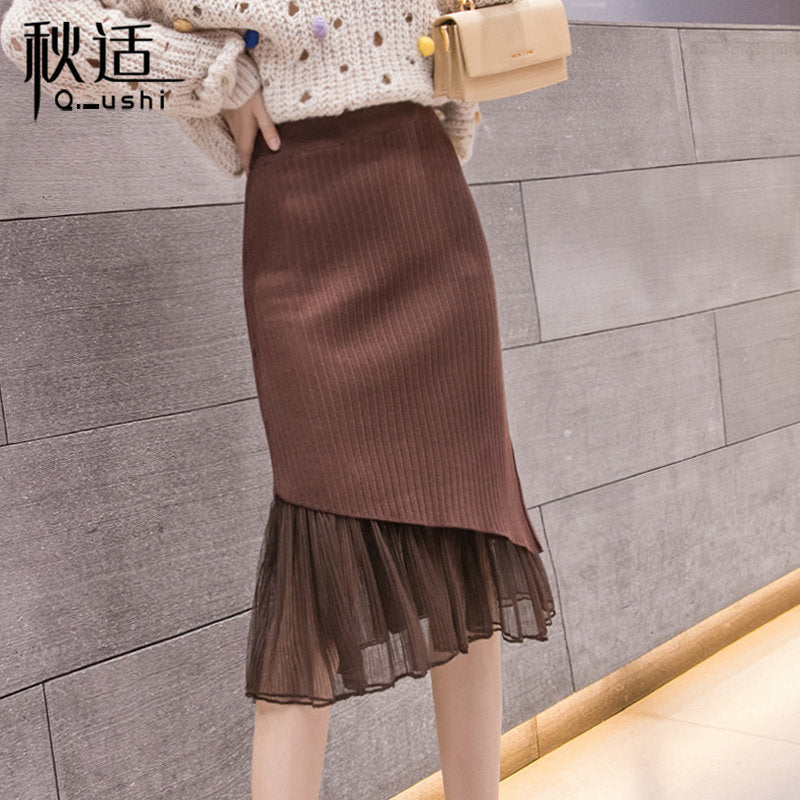 Fishtail Knitted Half-length Skirt