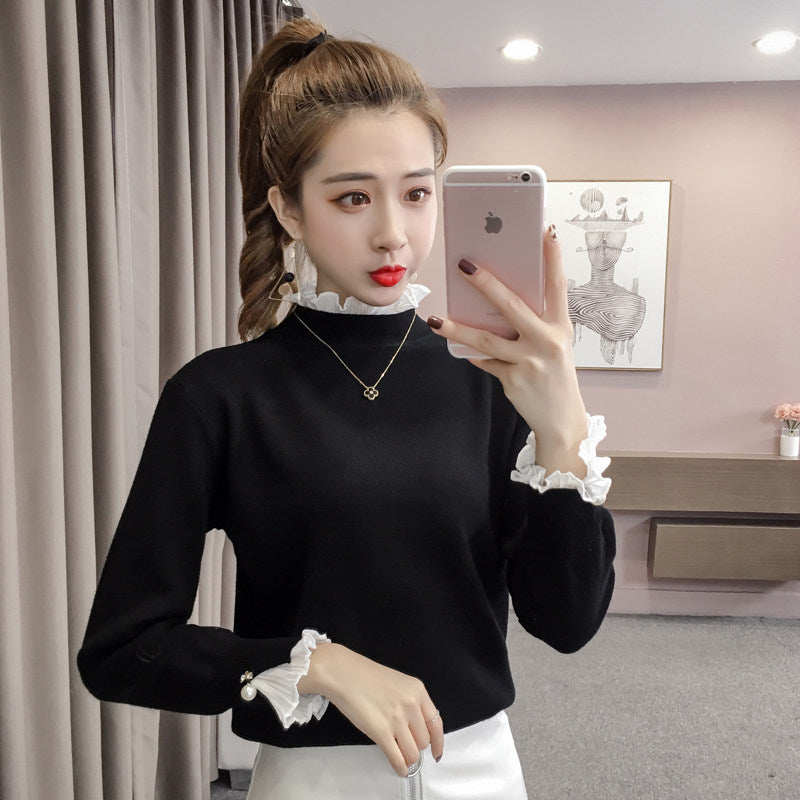 Turtleneck Bell-Sleeve Pullover