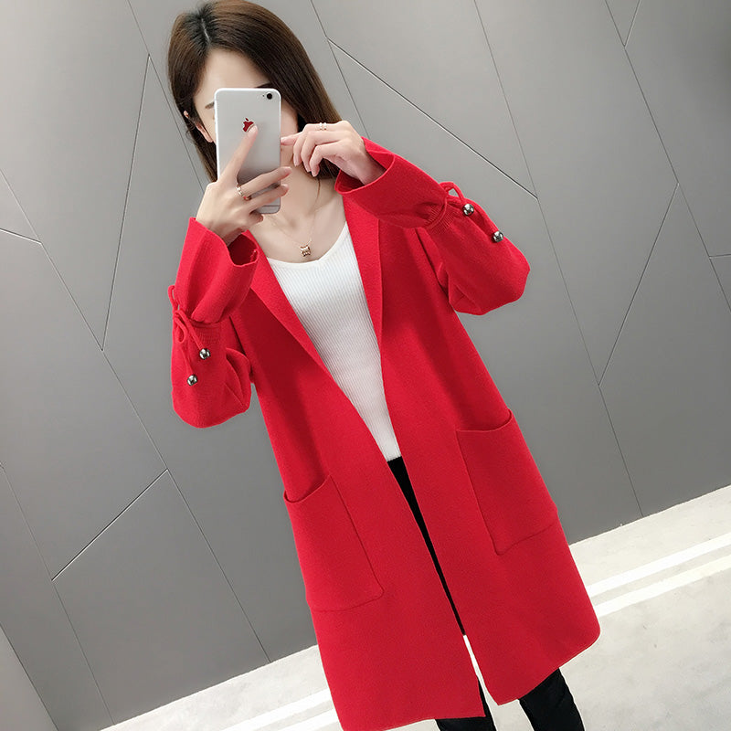 Tie Sleeve Cardigan Coat-Jackets & Coats-[korean fashion]-[korean clothing]-[korean style]-SOO・JIN