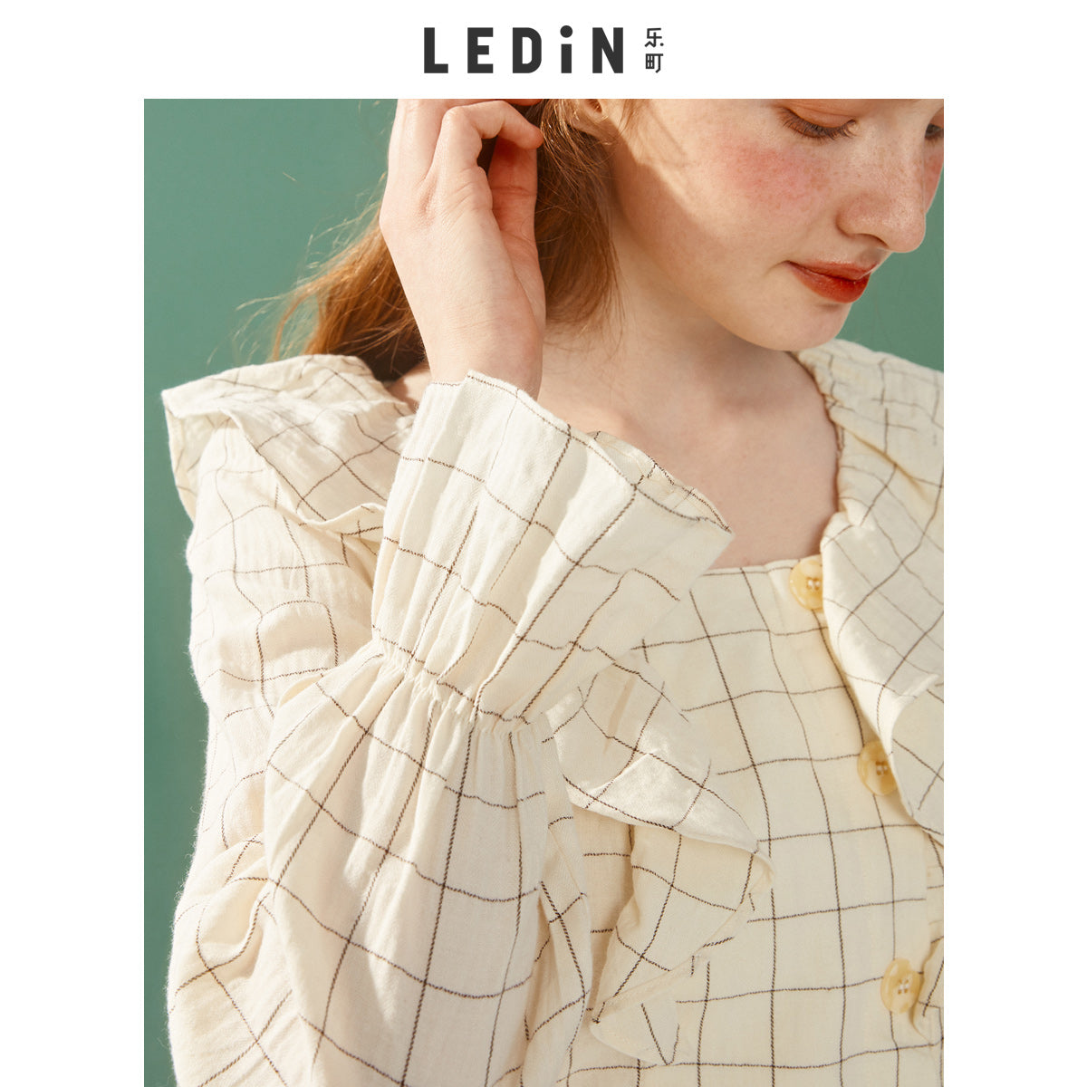 A14W   Lotus Leaf Collar Flounced Shirt