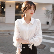 A2O Very immortalized blouse 100 plush shirt woman long sleeve autumn winter 2018 new temperament lantern sleeve chiffon shirt lace