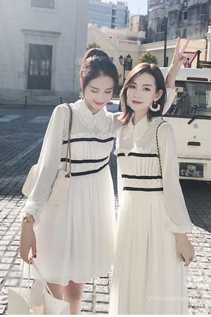 Triple Stripes Dress-Dresses-[korean fashion]-[korean clothing]-[korean style]-SOO・JIN