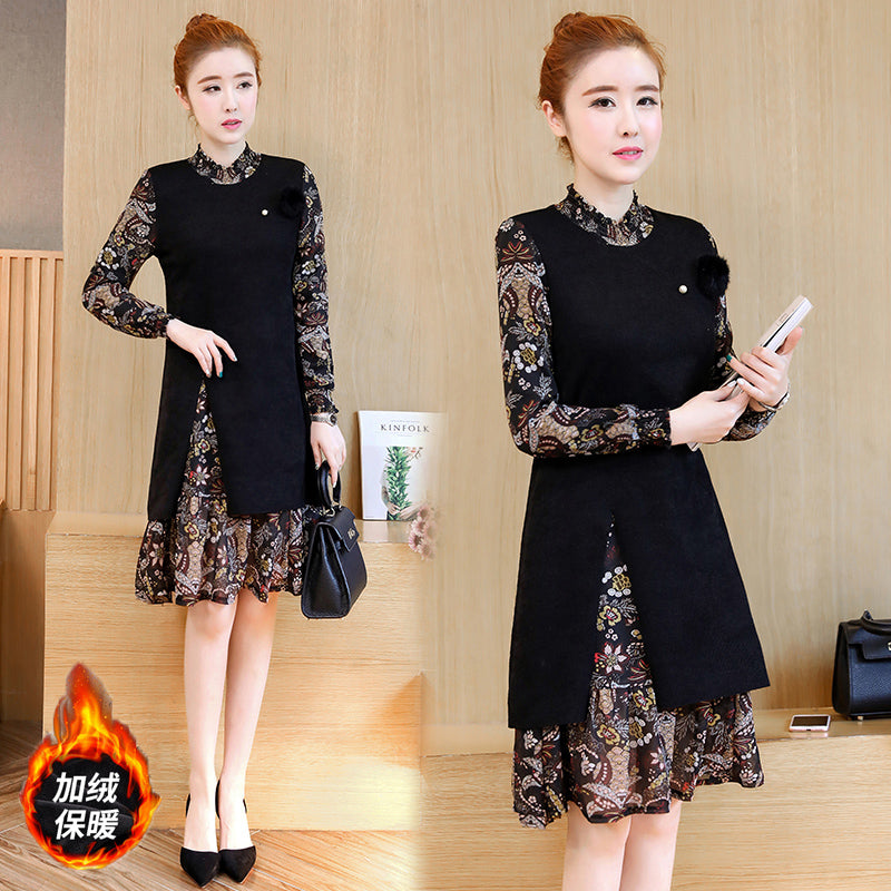 Patterned Long Sleeve Midi Dress-Dresses-[korean fashion]-[korean clothing]-[korean style]-SOO・JIN